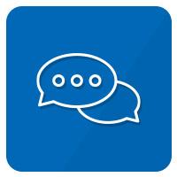 icon sprechblasen blau weiß