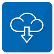 icon wolke mit pfeil blau weiß